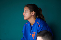 St. Lucie Mets Mental Skills Coach Sabrina Gomez in the dugout during the second game of a doubleheader against the Lakeland Flying Tigers on June 10, 2017 at Joker Marchant Stadium in Lakeland, Florida.  Lakeland defeated St. Lucie 9-1.  (Mike Janes/Four Seam Images)