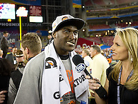 STANFORD, CA - January 2, 2012: Oklahoma State wide receiver Justin Blackmon winner of the offensive player of the game against Stanford at the Fiesta Bowl at University of Phoenix Stadium in Phoenix, AZ. Final score Oklahoma State wins 41-38.