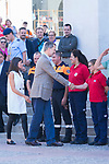 King Felipe VI and Queen Letizia of Spain during the visit to Arganda del Rey because of the floods that happened in August and September. September 27, 2019. (ALTERPHOTOS/ Francis Gonzalez)
