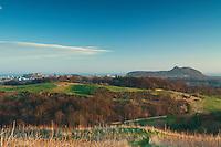 Edinburgh, Edinburgh Castle, Arthur's Seat and the Firth of Forth from Wester Craiglockhart Hill, Edinburgh, Lothian