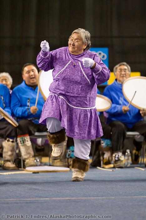 Nagsragmiut Inupiat (Eskimo) dancers from the Village of Anaktuvuk Pass dance at the 2008 World Eskimo Indian Olympics held annually in Fairbanks, Alaska