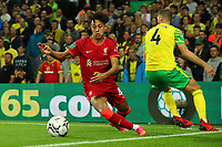 21st September 2021; Carrow Road, Norwich, England; EFL Cup Footballl Norwich City versus Liverpool; Kaide Gordon of Liverpool takes on Ben Gibson of Norwich City