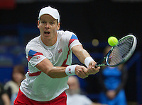02-02-14,Czech Republic, Ostrava, Cez Arena, Davis Cup Czech Republic vs Netherlands,  Tomas Berdych (CZE)<br /> Photo: Henk Koster