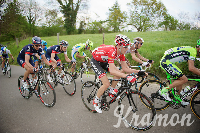 Bart De Clercq (BEL/Lotto-Belisol) up the 'steepest climb' in Holland: Keutenberg (max 22%)<br /> <br /> Amstel Gold Race 2014