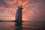 United Arab Emirates, Dubai: the Burj al Arab at sunset