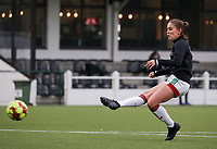 Marie Detruyer of OHL (17) shoots at the goal during the warm up before a female soccer game between Oud Heverlee Leuven and Femina White Star Woluwe  on the 5 th matchday of the 2020 - 2021 season of Belgian Womens Super League , Sunday 18 th of October 2020  in Heverlee , Belgium . PHOTO SPORTPIX.BE | SPP | SEVIL OKTEM