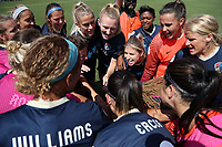 Cary, North Carolina  - Saturday June 03, 2017: NC Courage players huddle prior to a regular season National Women's Soccer League (NWSL) match between the North Carolina Courage and the FC Kansas City at Sahlen's Stadium at WakeMed Soccer Park. The Courage won the game 2-0.