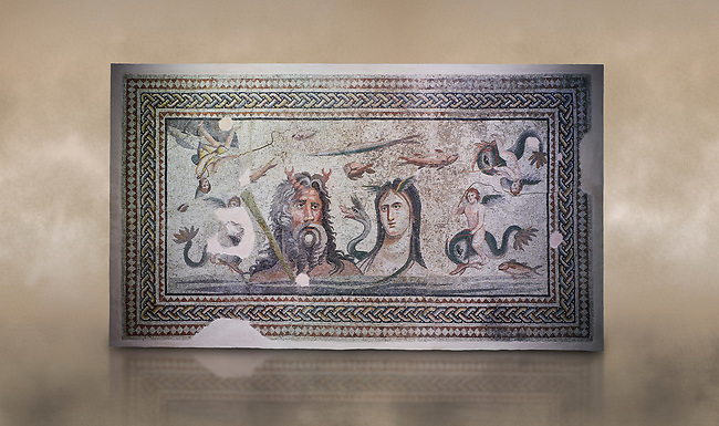 Roman Mosaic - The Oceanos & Tethys Mosaic, fom The House of Oceanos, Zeugma.  2nd - 3rd century AD. Zeugma Mosaic Museum, Gaziantep, Turkey.   Against an art background.<br /> <br /> The Oceanos and Tethys Mosaic is the floor mosaic of the shallow pool of the House of Oceanos. In this mosaic, which belongs to the Early Roman Empire Period, Oceanos, the river god who is the origin of life, and his wife Tethys are represented. At the middle of the mosaic which is surrounded by a geometric triple tress borders there are Oceanos and his wife Tethys. Around them there are Eros figures riding various species of fish and dolphins symbolising the abundance of the sea. The most represented attributes of Oceanos are snake and fish.<br /> <br />  in the mosaic, Oceanos is seen with chelas. Those chelas are among his most characteristic attributes. Though the tail of an eel is represented as his feet in the figures on ceramics, within the scope of the art of mosaic he is represented as a bust and only with the chelas on his head such as this one. His wife Tethys is right by his side and represented with wings upon her forehead. Between them, there is the dragon called Cetos which is a mythological sea creature. As is seen in the coins of Zeugma, the Euphrates River is expressed as a dragon. Besides these two figures, on the top-right of the mosaic, there is a young male figure which is thought to be Pan, the patron of fishermen and shepherds. The fact that Eros figures and Pan which are the side figures are located outward implies that the pool is built to allow walking around. <br /> <br /> The expression of the Oceanos as not an ocean but a river surrounding the world: By that the water, which vapours with the heat of the sun and then gives life to the nature by becoming rain, and which after being used by the nature reaches again the sea via the rivers is expressed. The water becomes aware of itself and its function by that cycle. This phenomenon is represented in the mosai