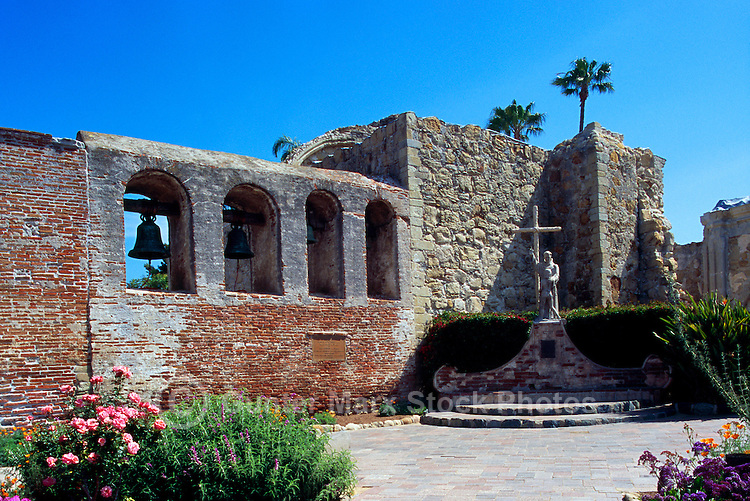 Mission San Juan Capistrano, San Juan Capistrano, California, USA - the Campanario (Bell Wall) and the Great Stone Church - Historic Landmark founded 1776