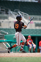 GCL Orioles shortstop Andrew Fregia (19) follows through on a swing during a game against the GCL Red Sox on August 9, 2018 at JetBlue Park in Fort Myers, Florida.  GCL Red Sox defeated GCL Orioles 10-4.  (Mike Janes/Four Seam Images)