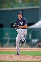 GCL Yankees West relief pitcher Kyle Johnson (22) delivers a pitch during the first game of a doubleheader against the GCL Braves on July 30, 2018 at Champion Stadium in Kissimmee, Florida.  GCL Yankees West defeated GCL Braves 7-5.  (Mike Janes/Four Seam Images)