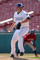 Buffalo Bisons pitcher Jack Egbert #20 delivers a pitch during a game against the Lehigh Valley IronPigs at Coca-Cola Field on April 19, 2012 in Buffalo, New York.  Lehigh Valley defeated Buffalo 8-4.  (Mike Janes/Four Seam Images)