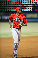 AZL Angels right fielder Jimmy Barnes (14) jogs to the dugout between innings during a game against the AZL Indians on August 7, 2017 at Tempe Diablo Stadium in Tempe, Arizona. AZL Indians defeated the AZL Angels 5-3. (Zachary Lucy/Four Seam Images)