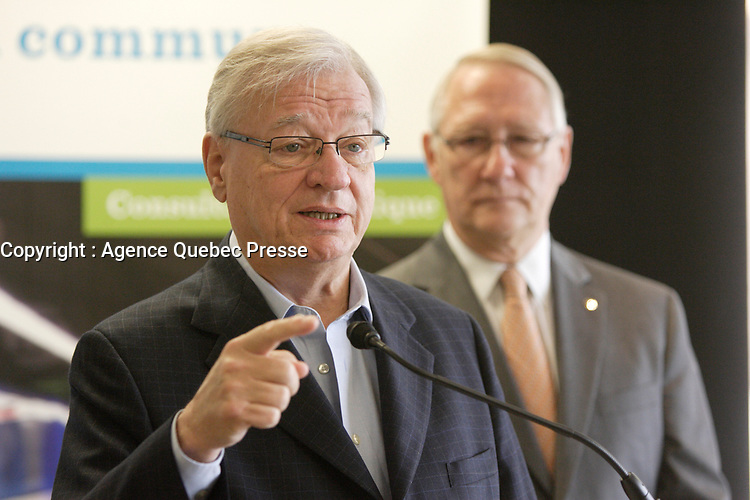 August 16 2012 - Montreal (QC) CANADA  - Gerald TRemblay, Montreal mayor (L) and Gilles Vaillancourt (Laval Mayor) annonces a new taxes on gas to help public transit