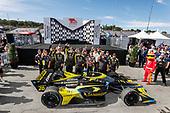 #26: Colton Herta, Andretti Autosport w/ Curb-Agajanian Honda, victory lane, crew members
