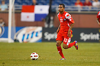 Panama midfielder Nelson Barahona (10) dribbles the ball during the CONCACAF soccer match between Panama and Guadeloupe at Ford Field Detroit, Michigan.