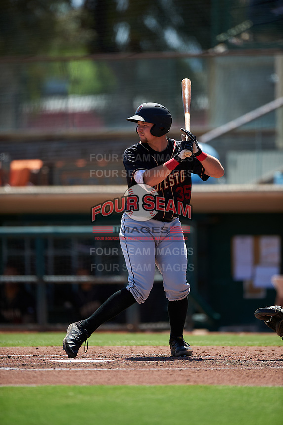 Modesto Nuts catcher Cal Raleigh (35) during a California League game against the Inland Empire 66ers on April 10, 2019 at San Manuel Stadium in San Bernardino, California. Inland Empire defeated Modesto 5-4 in 13 innings. (Zachary Lucy/Four Seam Images)