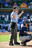 Home plate umpire Josh Sword behind the plate as the Ogden Raptors played the Helena Brewers in Pioneer League action at Lindquist Field on July 16, 2016 in Ogden, Utah. Ogden defeated Helena 5-4. (Stephen Smith/Four Seam Images)