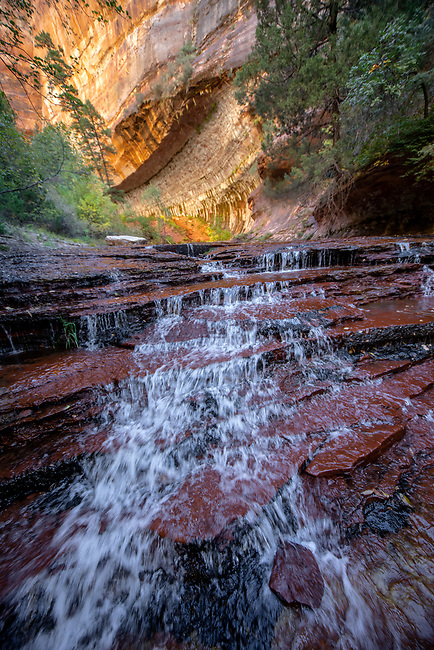 Water flows at Archangel Cascades at Zion National Park's Left Fork of North Creek, Utah