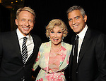 From left: Scott Brogan, Joanne King Herring and George Clooney at the VIP reception before Clooney's appearance at the Brilliant Lecture Series at the Wortham Theater Thursday May 3,2012. (Dave Rossman Photo)