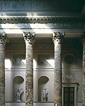 Kedleston Hall, Derbyshire, England, 1759 - 1765. The Marble Hall. Stucco work on the ceiling and overmantels.