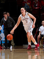 Stanford's Mikaela Ruef, drives the ball down court during Stanford women's basketball  vs Washington State at Maples Pavilion, Stanford, California on March 1, 2014.