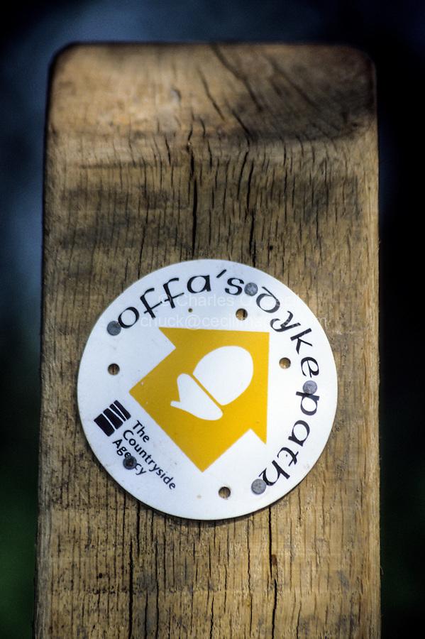 Wales, Offa's Dyke Footpath Trail Marker.