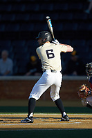 Jake Mueller (6) of the Wake Forest Demon Deacons at bat against the Liberty Flames at David F. Couch Ballpark on April 25, 2018 in  Winston-Salem, North Carolina.  The Demon Deacons defeated the Flames 8-7.  (Brian Westerholt/Four Seam Images)