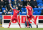 St Johnstone v AberdeenÖ23.02.19Ö  McDiarmid Park    SPFL<br /> Graeme Shinnie celebrates his goal<br /> Picture by Graeme Hart. <br /> Copyright Perthshire Picture Agency<br /> Tel: 01738 623350  Mobile: 07990 594431
