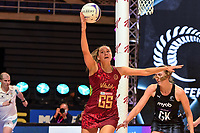 24th September 2021: Christchurch, New Zealand;  George Fisher of England eludes Kelly Jury of the Silver Ferns during the third Cadbury Netball Series/Taini Jamison Trophy, New Zealand Silver Ferns versus England Roses, Christchurch Arena, Christchurch, New Zealand
