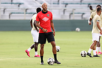 CARY, NC - AUGUST 01: Khano Smith instructs his team during a game between Birmingham Legion FC and North Carolina FC at Sahlen's Stadium at WakeMed Soccer Park on August 01, 2020 in Cary, North Carolina.