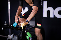 Christopher Symonds (GHA) warming&fueling up with a banana<br /> <br /> Men Elite Individual Time Trial <br /> from Knokke-Heist to Bruges (43.3 km)<br /> <br /> UCI Road World Championships - Flanders Belgium 2021<br /> <br /> ©kramon