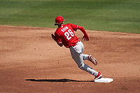 Philadelphia Phillies Alec Bohm (28) running the bases during a Major League Spring Training game against the Baltimore Orioles on March 12, 2021 at the Ed Smith Stadium in Sarasota, Florida.  (Mike Janes/Four Seam Images)