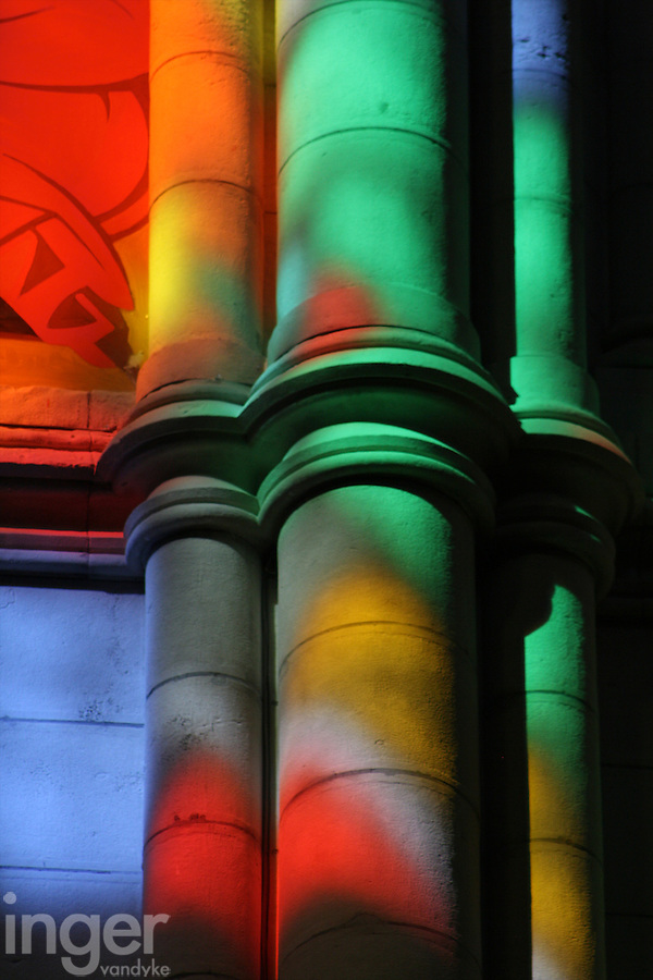 Stained Glass colours the inside of Almudena Cathedral in Madrid, Spain