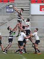 MCB vs Wallace High School | Thursday 5th March 2015<br /> <br /> Max Trouton takes this lineout ball during the 2015 Ulster Schools Cup Semi-Final between Methody and Wallace High School at the Kingspan Stadium, Ravenhill Park, Belfast, Northern Ireland.<br /> <br /> Picture credit: John Dickson / DICKSONDIGITAL