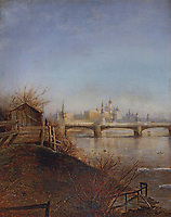 View of the Moscow Kremlin.Spring<br /> Artist: Savrasov, Alexei Kondratyevich(1830-1897)<br /> Museum: State Russian Museum, St. Petersburg<br /> Method: Oil on canvas<br /> Created: 1873<br /> School: Russia<br /> Trend in art: Russian Painting of 19th cen.