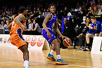 Kerwin Roach of the Wellington Saints dribbles the ball during the round two NBL match between the Wellington Saints and the Southland Sharks at TSB Bank Arena, Wellington, New Zealand on Friday 7 May 2021.<br /> Photo by Masanori Udagawa. <br /> www.photowellington.photoshelter.com