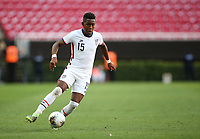 ZAPOPAN, MEXICO - MARCH 21: Andres Perea #15 of the United States controls the ball during a game between Dominican Republic and USMNT U-23 at Estadio Akron on March 21, 2021 in Zapopan, Mexico.