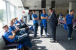 Rosenborg v St Johnstone....17.07.13  UEFA Europa League Qualifier.<br /> Manager Tommy Wright with his players at Edinburgh Airport<br /> Picture by Graeme Hart.<br /> Copyright Perthshire Picture Agency<br /> Tel: 01738 623350  Mobile: 07990 594431