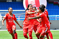 CALI – COLOMBIA, 02-11-2020: Carolina Pineda del América celebra después de anotar el primer gol de su equipo partido por la Fecha 3 de la Liga Femenina BetPlay DIMAYOR 2020 entre América de Cali y Atlético Junior jugado en el estadio Pascual Guerrero de la ciudad de Cali. / Carolina Pineda of America celebrates after scoring the first goal of his team during match for the date 3 as part of Women's BetPlay DIMAYOR League 2020 between America de Cali and Atletico Junior played at Pascual Guerrero stadium in Cali. Photos: VizzorImage / Nelson Rios / Cont /