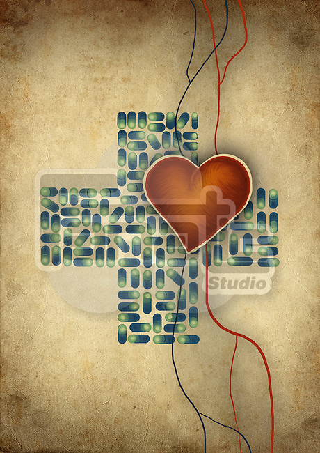 Conceptual shot of heart over cross shaped capsules representing heart issues