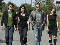 Montreal (qc) Canada - 2009 file photo -Roy Dupuis join people marching for the environmentMontreal (qc) Canada - 2009 file photo -artists Yann Perreault,Genevieve Bilodeau,Roy Dupuis, Isabelle Brouilette  marches for the environment