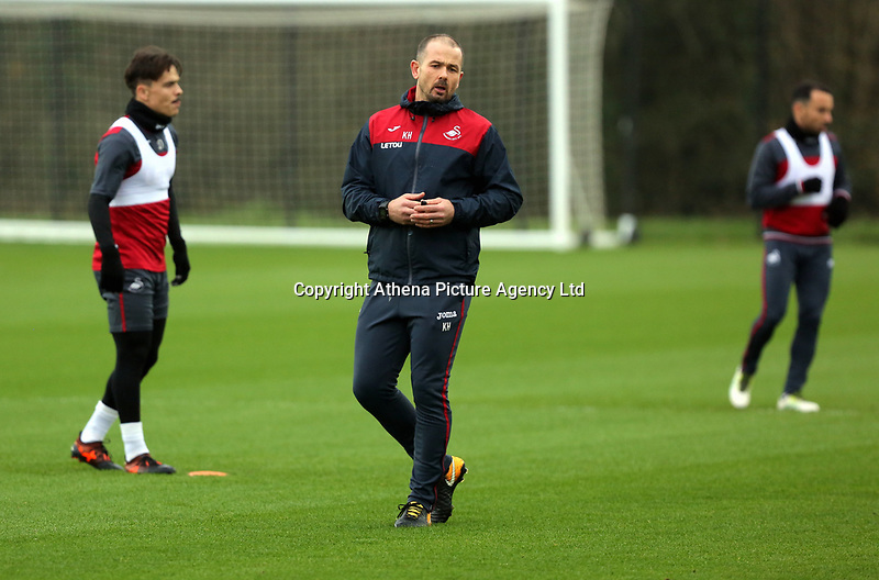 Karl Halabi, fitness coach gives the players instructions during the Swansea City Training at The Fairwood Training Ground, Swansea, Wales, UK. Wednesday 22 November 2017