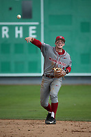 Ryan Ramsower (9) of the Washington State Cougars throws to first base during a game against the Loyola Marymount Lions at Page Stadium on February 26, 2017 in Los Angeles, California. Loyola defeated Washington State, 7-4. (Larry Goren/Four Seam Images)