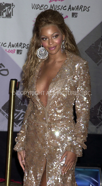 Beoynce Knowles at 2003 Video Music Awards. New York, August 28, 2003. Please byline: NY Photo Press.   ..*PAY-PER-USE*      ....NY Photo Press:  ..phone (646) 267-6913;   ..e-mail: info@nyphotopress.com