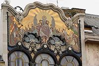 Jugendstilfassade, ehemalige türkische Bank am Szervitá tér 3, Budapest, Ungarn