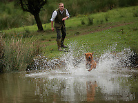 FAO JANET TOMLINSON, DAILY MAIL PICTURE DESK<br />Pictured: Mark Thompson training one of his dogs in the farm pond Wednesday 23 November 2016<br />Re: The Dog House in the village of Talog, Carmarthenshire, Wales, UK