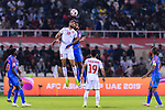 Abdulla Yusuf Helal of Bahrain (L) competes for the ball with Sandesh Jhingan of India during the AFC Asian Cup UAE 2019 Group A match between India (IND) and Bahrain (BHR) at Sharjah Stadium on 14 January 2019 in Sharjah, United Arab Emirates. Photo by Marcio Rodrigo Machado / Power Sport Images