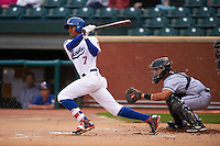 Chattanooga Lookouts outfielder Byron Buxton (7) at bat in front of catcher Sharif Othman during a game against the Jacksonville Suns on April 30, 2015 at AT&T Field in Chattanooga, Tennessee.  Jacksonville defeated Chattanooga 6-4.  (Mike Janes/Four Seam Images)