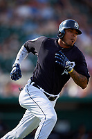 Detroit Tigers second baseman Harold Castro (70) runs to first base during a Grapefruit League Spring Training game against the Atlanta Braves on March 2, 2019 at Publix Field at Joker Marchant Stadium in Lakeland, Florida.  Tigers defeated the Braves 7-4.  (Mike Janes/Four Seam Images)